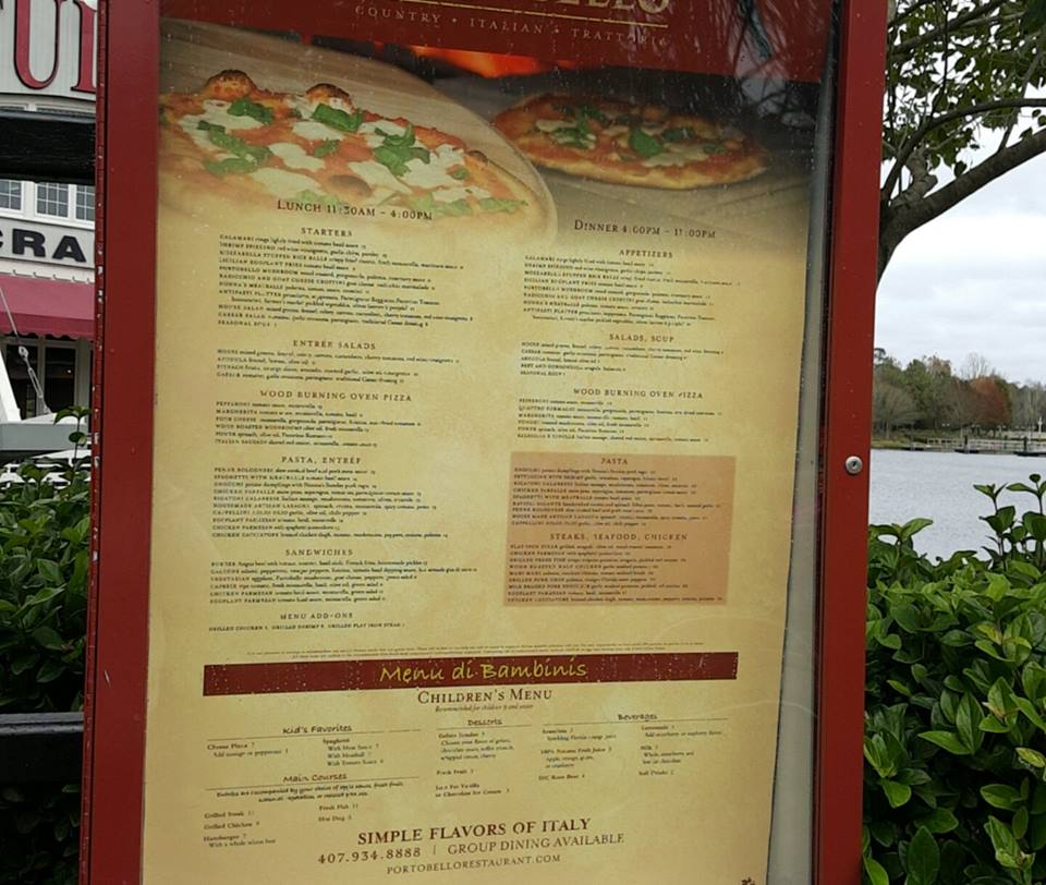 Disney Springs - Portobello Country Italian Trattoria Menu Board